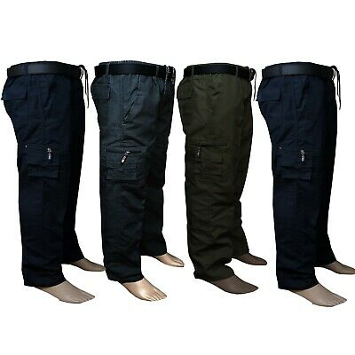 New Lightweight Mens Cotton Elasticated Cargo Combat Work Trousers Summer Pants