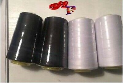 5000 Yards Black / White Over locking Sewing Machine Industrial Polyester Thread