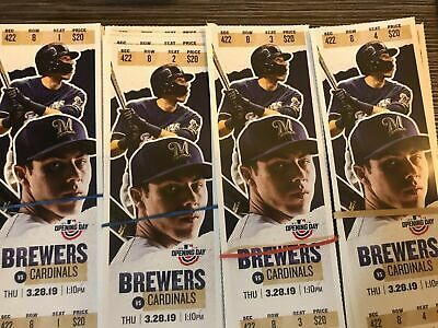 2019 Milwaukee Brewers Tickets Stub Unused Miller Park Yelich Cain Hader