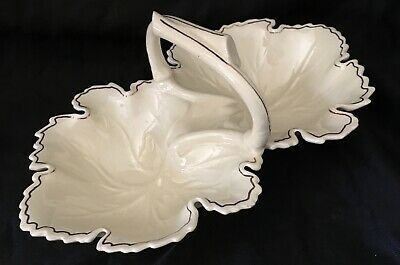 Vintage Divided Leaf Ceramic Candy Dish Gold Trim with Handle 1974 HOLLAND MOLD
