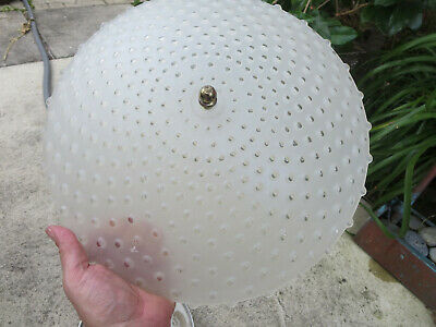 Antique Vintage Ceiling Light Fixture Frost & Clear Glass Shade Art Deco
