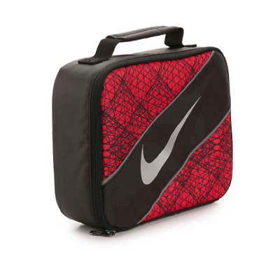 55cd75f356c3 Nike Kids Lunch Box Black Red Swoosh Logo Insulated School Reflective tote  New