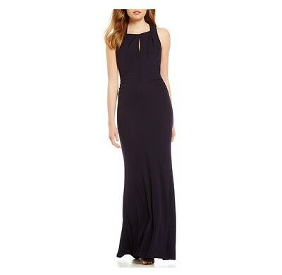 e04c44532618 David Meister A-line Keyhole Jersey Gown Navy Size 8 List Price $595.00