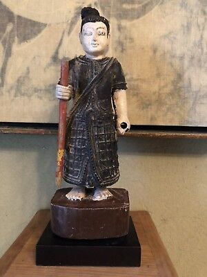 Hand Carved Painted Wooden Thai Figurine with Staff from Thailand