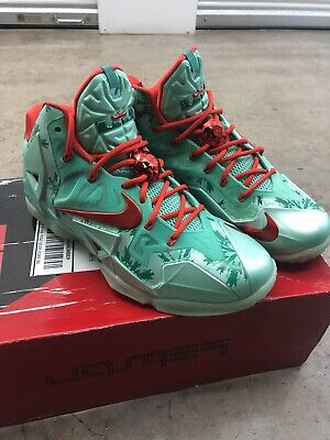 best sneakers 70ea9 5f91d Nike Lebron XI 11 Christmas Green Glow Crimson Red 616175-301 Sz 10.5