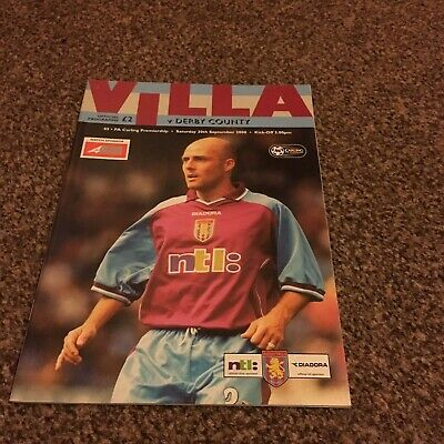 football programme Aston Villa V Derby County 30/09/2000