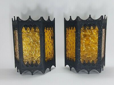 Pair of 1960's Vintage Fancy Gothic Spanish Amber Glass Porch Lights Wall Mount