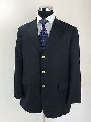 Brooks Brothers 346 Navy Blue Gold Button Blazer Mens Size 45R