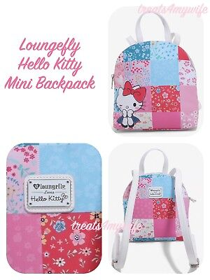 ed6e21340 Loungefly HELLO KITTY PATCHWORK Mini Backpack~Book Bag~EXCLUSIVE