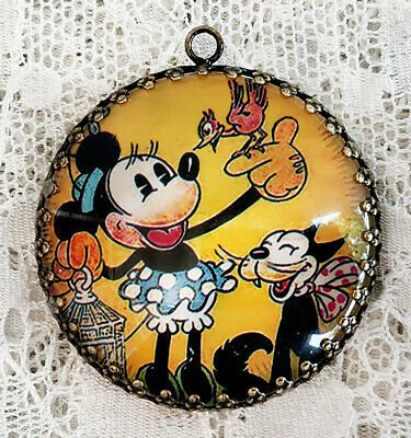 Minnie Mouse and BIRD and CAT~ XL ROUND 35mm PENDANT Filigree VINTAGE ART