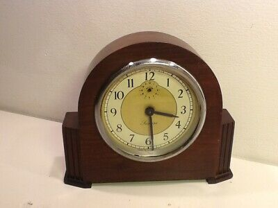 Vintage SUNRISE Mechanical Art Deco Oak Mounted Mantel Clock,Chrome Dial,working