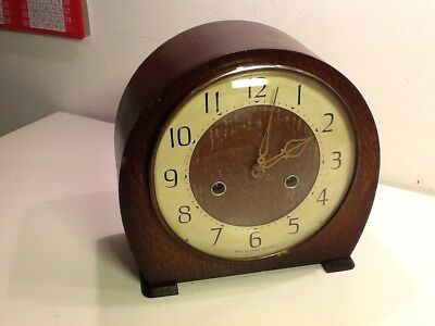 Vintage Deco SMITHS Roll Oak Cased Twin Train Matel Clock,Numerical Dial,working