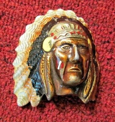 Vintage Indian Chief With Headdress Enamel Painted Metal Belt Buckle V/G Cond