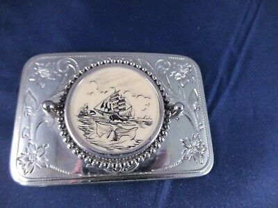 Vintage Scrimshaw and Metal Belt Buckle Sailing Ship & Whale Signed Michael