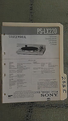 Sony ps-lx220 service manual original repair book stereo turntable record player
