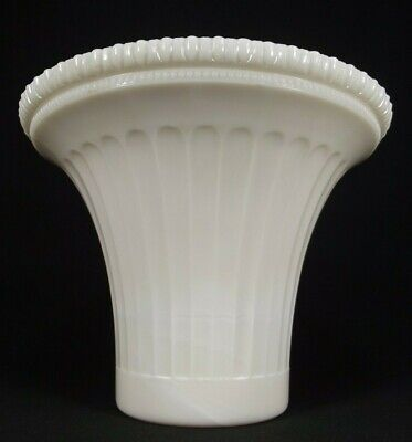 ANTIQUE floor lamp shade ALACITE WHITE GLASS torchiere OLD fluted large RARE!