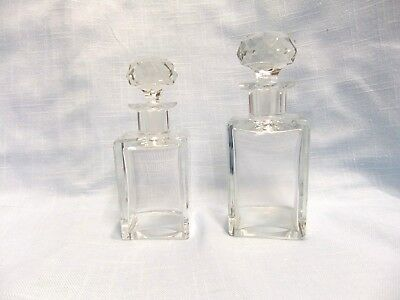 Vintage Cologne/Perfume Square Vanity Decanter Pair; Crystal w/ Faceted stopper