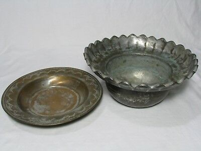 Antique Hand Made Copper Bowl and Dish, Middle Eastern, Turkish
