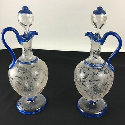 2 Late 19th Century Bohemian Hand Blown Decanters Etched Glass Cut To Clear Blue