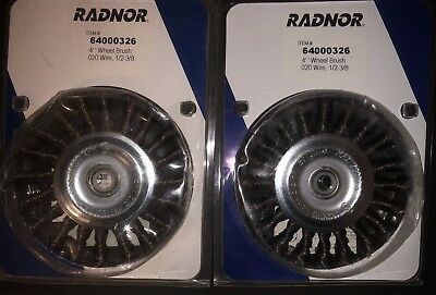 "(2Pcs) Radnor 4"" X 1/2""- 3/8"" Carbon Steel Standard Twist Knot Wire Wheel Brush"