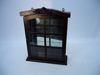 Wooden Curio Small Figurine Cabinet mirror door wall mount Bombay Style