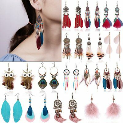 Boho Feather Owl Leaf Long Tassel Earrings Dangle Wedding Bride Womens Jewelry