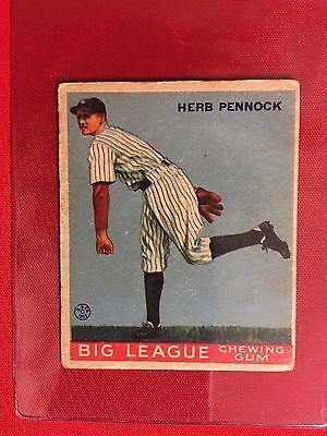 1933 GOUDEY #138 HERB PENNOCK VG-EX+ Rookie Big League Chewing Gum Freddie RC