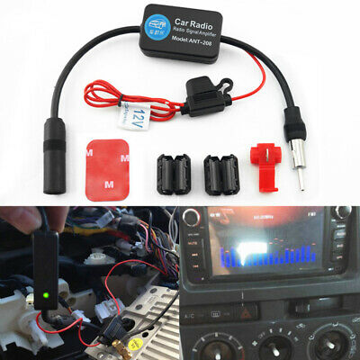 Car Auto FM Radio Aerial Antenna Signal Reception Amp Amplifier Booster Black