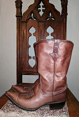 0494208ff81 HYER LEATHER SNIP Toe Cowboy Boots Mens Size 7 Vintage Orange ...