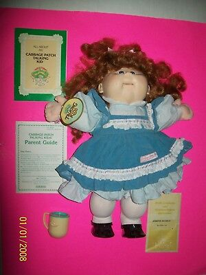 CABBAGE PATCH KIDS DOLL TALKING GIRL HTF. working in blue dress complete as seen