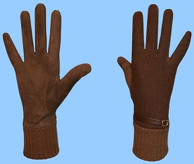 NEW WOMENS size 6.5 GENUINE BROWN SUEDE LEATHER BELT CASHMERE LINED GLOVES