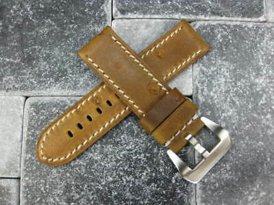 24mm NEW MOON COW LEATHER STRAP Watch Band PAM 1950 Brown White Stitch 24 mm