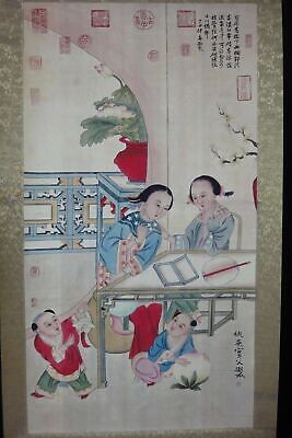 """Very Large Fine Old Chinese Scroll Hand Painting Women and Kids """"QiuYing"""" Marks"""