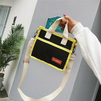 Korean Style Fashion Canvas Handbag Patchwork Bags Girls Women Crossbody Bag B