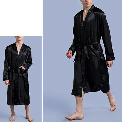 Men Silk Satin Pajamas Kimono Bath Robe Dressing Loungewear Long Sleepwear USA