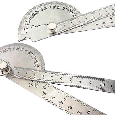 Stainless Steel 180° Rotary Protractor Angle Arm Ruler Finder Round Head