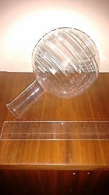 Round flask 1L genuine quartz glass SiO2 99,98% Made in Europe, Extremely Rare!