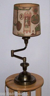 Antique Brass Swing Arm Lamp Cloth Cord Colonial Design Paper Shade Heavy Works
