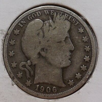 1906-D 50C Barber Half Dollar VG/F First Year Denver Mint Better Date Fast Ship