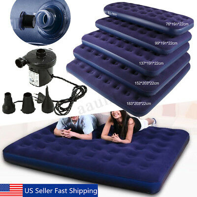 Inflatable Car Air Bed Mattress Back Seat Cushion with Pump For Travel Camping