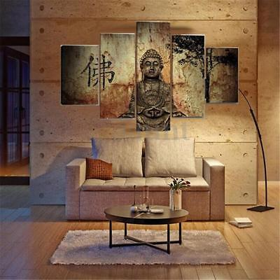 5Pcs Modern Buddha Oil Canvas Painting Print Picture Home Wall Art Decor Poster