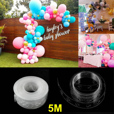 2X 5M Balloon Arch Decor Strip Connect Chain Plastic DIY Tape Party Supplies