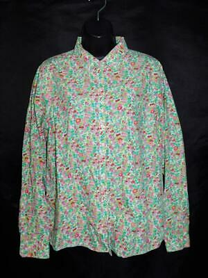 bf4c95f53 Lands End 14 L Pink Green Floral Shirt Long Sleeve Blouse No Iron Supima  Cotton