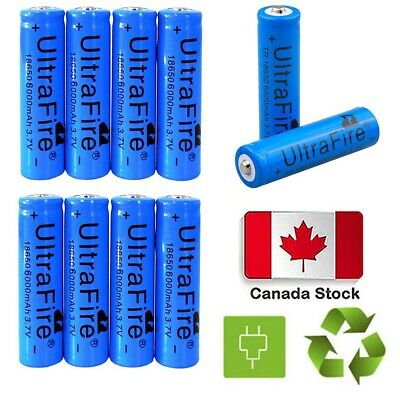 CA 10* Ultrafire 6000mAh 18650 Battery Blue 3.7V Lithium Rechargeable Batteries