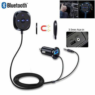 Bluetooth Receiver BT to Aux Adapter Car Audio Kit w/3.5mm Dongle USB Charger BS