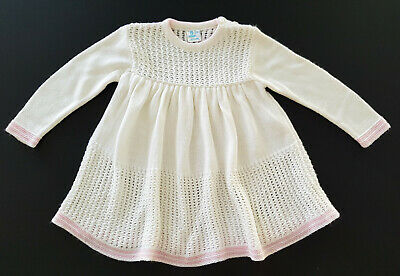 VINTAGE 1960's 'NEVER BEEN WORN'  WHITE / PINK KNIT BABY DRESS MADE IN UK