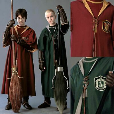 Harry Potter Quidditch Hooded Robe Cloak Gryffindor Slytherin Cosplay Costume US