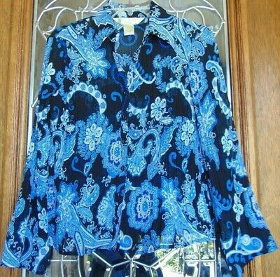 New York City Design Co. Petite Women's Size PS Semi Sheer Floral Blouse Top