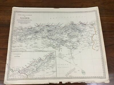 Antique Map Algeria Africa Barbary Chapman Hall Victorian Old Chart 1834