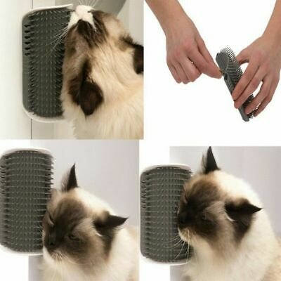Cat Self Groomer Brush Wall Corner Grooming Massage Tickling Comb Catnip Rubs US